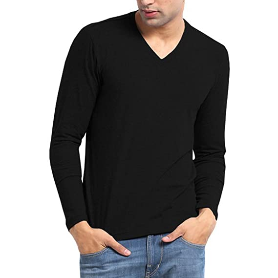 a1fe261302ae Softwear Mens Black V-neck Full sleeve T-shirt-XX-Large  Amazon.in ...