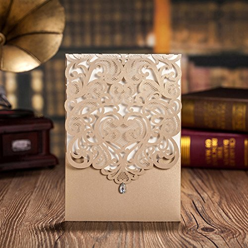 Hosmsua 50pcs Gold Laser Cut Wedding Invitations Hollow Vertical Lace Flower Invitation Cards Kit with Rhinestone Marriage Engagement Bridal Shower Birthday Party Supply (set of ()