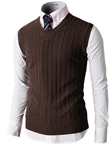 H2H Mens Casual Slim Fit Solid Lightweight V-Neck Sweater Vest Darkbrown US S/Asia M (KMOV037)