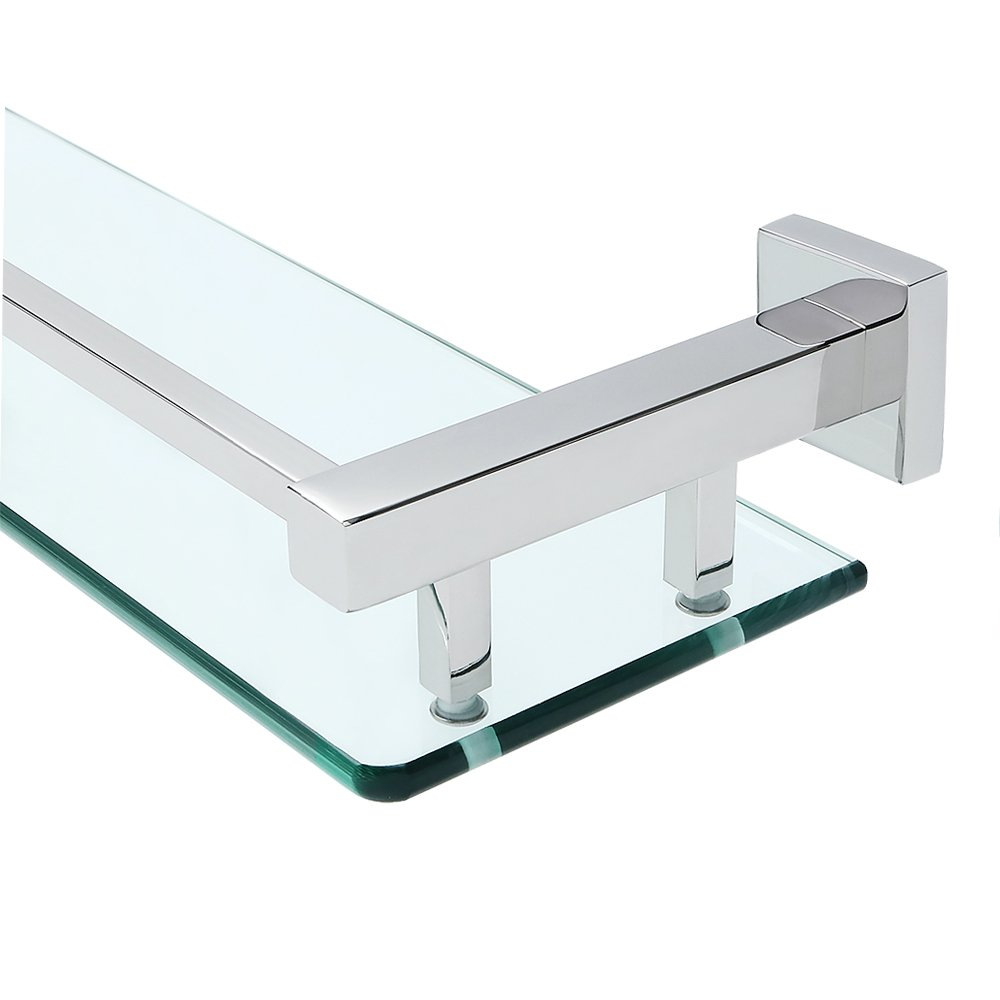 Alise GC2000 SUS 304 Stainless Steel Bathroom Glass Shelf Wall Mount,Polished Chrome
