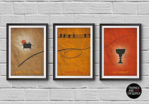 - Indiana Jones Trilogy Minimalist Poster Set of 3 Films Raiders of the Lost Ark Temple of Doom Last Crusade Steven Spielberg Prints Collectibles Cult Movies Wall Artwork Home Decor Hanging Cool Gift