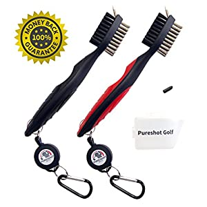 PureShot Golf Club Brush with Spike Groove Cleaner   Retractable Clip Extends 2 Ft.   Great Golf Gift