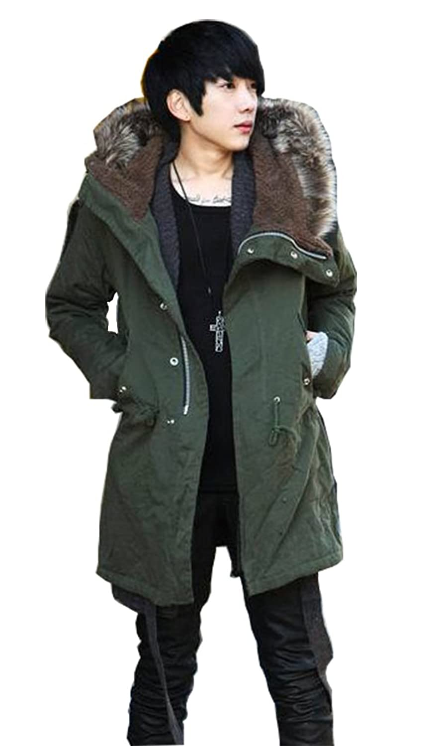 Shineflow Men's Faux Fur Hood Fleece Lined Military Parka Coat ...
