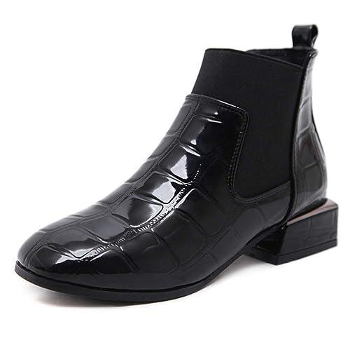 Botines Chelsea De Mujer De Tacón Bajo Bloque De Charol Pull En Botines De Moda Elásticos Zapatos Mujeres Trabajo Casual Boot: Amazon.es: Zapatos y ...