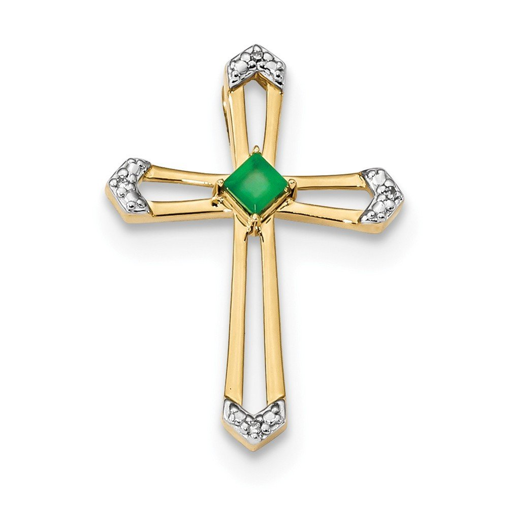 19mm 14k Gold With Emerald and Diamond Polished Cross Chain Slide