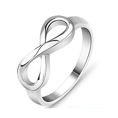 SHINYSO Jewelry Stainless Steel Infinity Love Silver Womens Wedding Engagement Rings Size6 12with