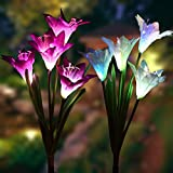 #5: Outdoor Solar Garden Stake Lights - 2 Pack Solarmart Solar Powered Lights with 8 Lily Flower, Multi-color Changing LED Solar Stake Lights for Garden, Patio, Backyard (Purple and White)