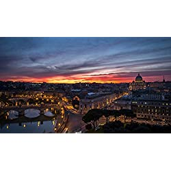 Art Silk Fabric Cloth Rolled Wall Poster Print - Rome Italy Vatican city Citta della stato - (Size:23x13 Inches)