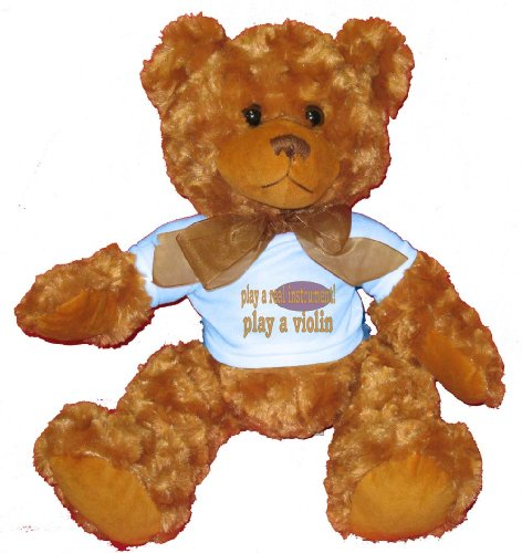 play a real instrument! Play a violin Plush Teddy Bear with BLUE T-Shirt
