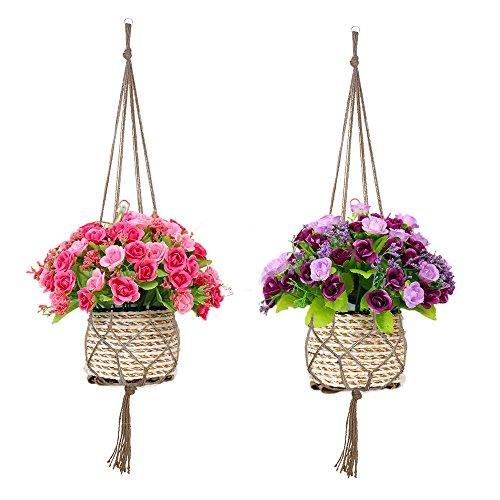 Beelittle 2 Pack 41.3 Inches Pure Handmade Plant Hanger Strong Jute 4 Legs Indoor Outdoor Plant Holder Basket For Balcony Ceiling Patio Deck Decoratio…