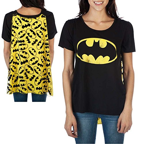 Batman Womens Interchangeable Cape Costume Tee Shirt,Black,Medium ()