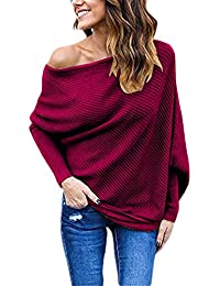 Women's Off Shoulder Batwing Sleeve Loose Pullover...