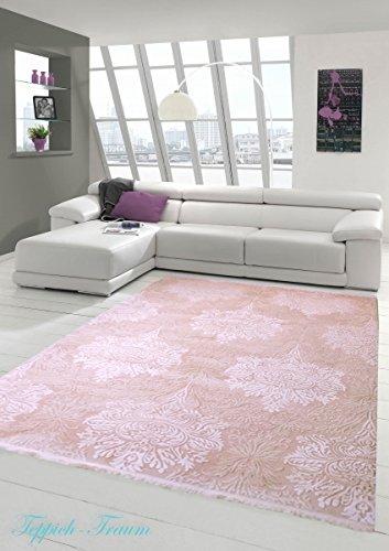 Designer Teppich Moderner Teppich Wollteppich Meliert Wohnzimmerteppich Wollteppich Ornament Rosa Pink Größe 80x150 cm