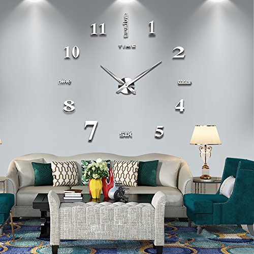 Vangold Frameless DIY Wall Clock, 2-Year Warranty 3D Mirror Wall Clock Large Mute Wall Stickers for Living Room Bedroom Home Decorations(Silver-14)