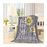 Advancey Flannel Fleece Blanket Lightweight Cozy Bed Sofa Blankets Super Soft Fabric You are My Sunshine, Sunflower Bee 49x59 inch