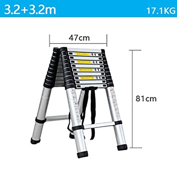 Telescópico Plegable Escalera,aluminio Aleación Escaleras De Mano Extensible Multifunción Escalera Portátil Escalera De Servicio Pesado-b5 3.2+3.2m: Amazon.es: Bricolaje y herramientas