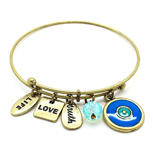 (KIS-Jewelry Symbology 'Evil Eye' Bangle Bracelet, Brass Plated - Expandable Wire Charm Bracelet Accented with Crystal Stones and One Shiny Glass Bead - Perfect Jewelry for Fashion)