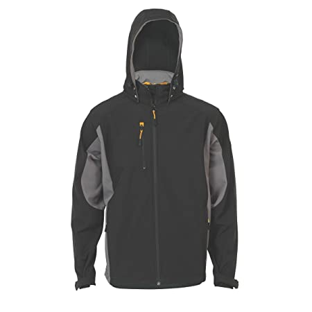 Nice Jcb Stretton Mens Black Softshell Breathable Water Repellent Hooded Jacket Coat Activewear Men's Clothing