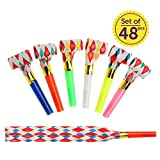 sesame street party blowers - Noise Party Blowers | 48pcs Party Noisemakers for New Years Birthday Party Favors | Loud Party Horns to Complete your Party Supplies | Superb Party Blowouts Whistles in Assorted Colors | 1605
