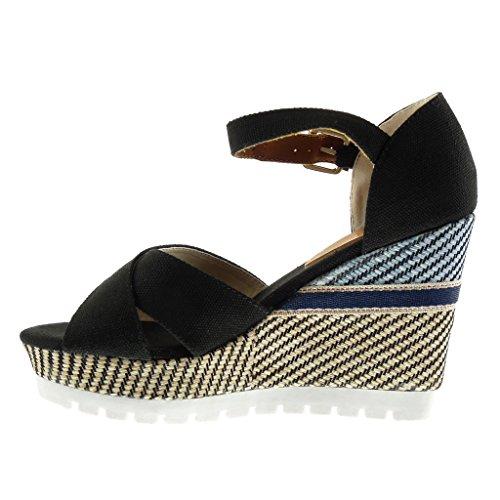 Angkorly Damen Schuhe Sandalen Mule - Plateauschuhe - Mary Jane - Sneaker Sohle - Geflochten - Bestickt - String Tanga Keilabsatz High Heel 10.5 cm Schwarz