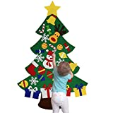 beautiful christmas decorations NEWBEA Felt Christmas Tree for Kids-Glitter Edition,3Feet DIY Wall Door Hanging Ornaments,30 Detachable Christmas Decorations Set for Home-Perfect Gift for Children