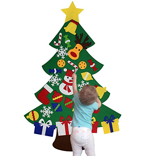 (NEWBEA Felt Christmas Tree for Kids-Glitter Edition,3Feet DIY Wall Door Hanging Ornaments,30 Detachable Christmas Decorations Set for Home-Perfect Gift for)