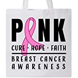 Inktastic - Breast Cancer Awareness Pink Cure Hope Faith Tote Bag White 31607