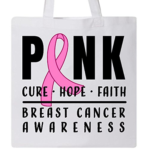 Inktastic - Breast Cancer Awareness Pink Cure Hope Faith Tote Bag White 31607 by inktastic