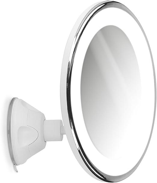Navaris Miroir Grossissant Eclairage Led Zoom 10x Rotation 360 Miroir Mural Lumineux Avec Ventouse Salle De Bain Maquillage Beaute Voyage