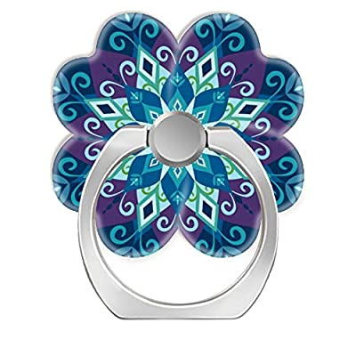 360 Rotation Cell Phone Ring Holder Stand,Finger Ring Grip with Car Mount Hooks for Smartphones and Tablets-Blooming Mandala Blue Large Scale: Computers & Accessories