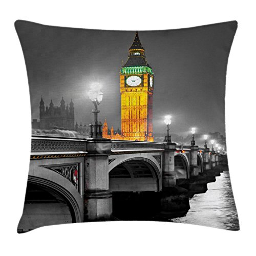 London Decor Throw Pillow Cushion Cover by Ambesonne, Ancient Big Ben View from Street Palace of Westminster Touristic Great Britain Art, Decorative Square Accent Pillow Case, 24 X 24 Inches, Multi