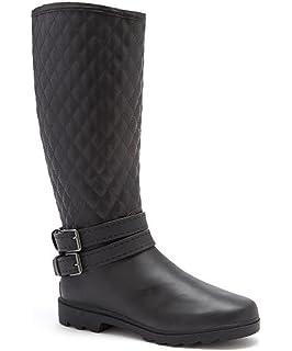Amazon.com | Women's Flat Wellies Rubber Rain & Snow Boots ...