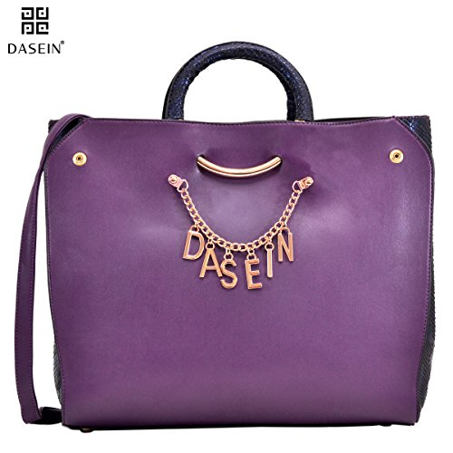 Dasein Designer Women's Signature Top Zip Ring Tote Shoulder Bag Satchel Purse w/ Snake Embossed Trim Fit 15