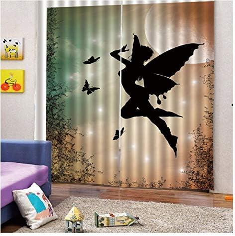 QinKingstore エンジェルシャドウ2ピース/セット150×166センチウィンドウカーテン用ホームキッチンリビングルームベッドルームウィンドウ装飾