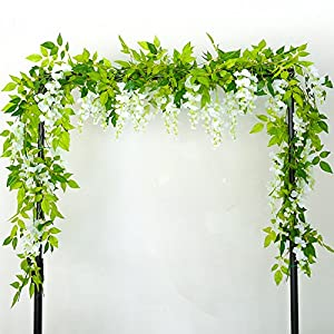 Greentime 4Pcs Artificial Flowers 6.6ft/Piece Silk Wisteria Ivy Vine Green Leaf Hanging Vine Garland for Wedding Party Home Garden Wall Decoration 2