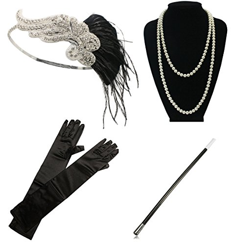 Zivyes 1920s Gatsby Flapper Costume Accessories Set for Women Feather Headband Pearl Necklace Gloves Cigarette (2)