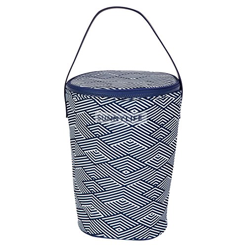 Sunnylife Medium Round Portable Insulated Cooler Beach Bag Tote with Shoulder Handle and Zipper - Montauk ()
