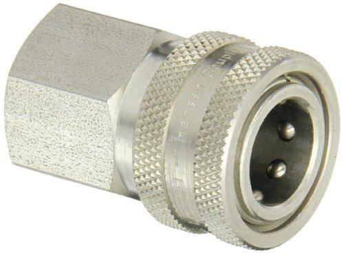 "Eaton Hansen LL4S26 Stainless Steel 303 Straight Through Ball Lock Hydraulic Fitting, Socket, 1/2""-14 NPTF Female, 1/2"" Port Size, 1/2"" Body"