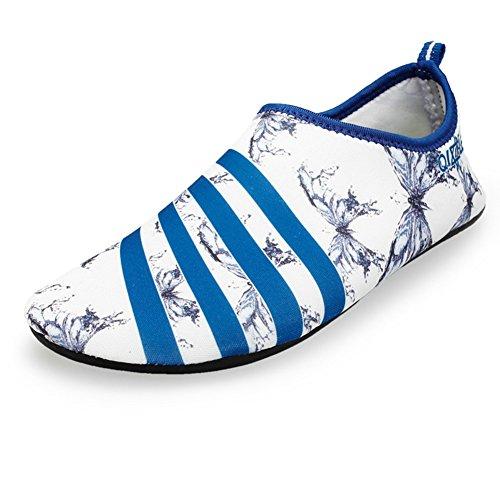 Houda Unisex Barefoot Skin Shoes Polyester Socks For Yoga Exercise, Gym, Outdoor Walk, Beach Water Sport White Blue