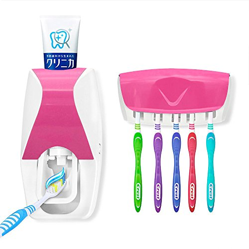 [New and Automatic Toothpaste Dispenser + 5 Toothbrush Holder Set Wall Mount Stand/ Hygiene and convenient #] (Blues Clues Costumes Toddler)