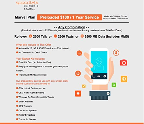 1 Year Prepaid Service GSM SIM Card - Rollover 2500 Minutes Talk Text Data by SpeedTalk Mobile (Image #1)