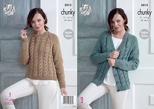 King Cole Ladies Chunky Knitting Pattern Womens Raglan Sleeve Cabled Cardigan & Sweater ()