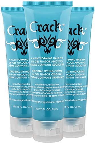 (CRACK HAIR FIX Styling Creme - Multi-Tasking, Anti-Frizz, Leave-In Styling Aid With Protection from Humidity, Chlorine, Heat Treatments & Sun ( 2.5 Oz / 75 Milliliter - PACK OF THREE))