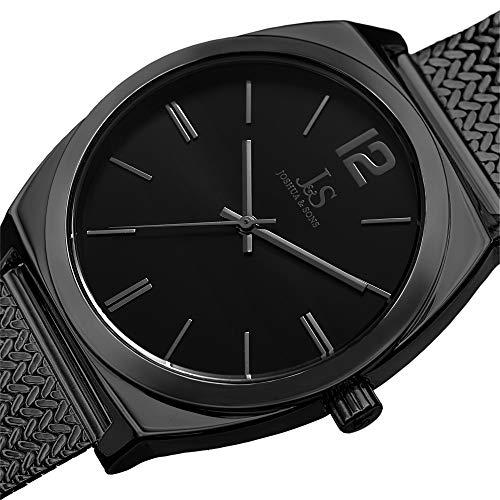 Designer Men's Watch - Stainless Steel Black Mesh Bracelet Band, Black Sunray Dial, Classic Round Polished Alloy Case, Japanese Quartz – JX124BK ()