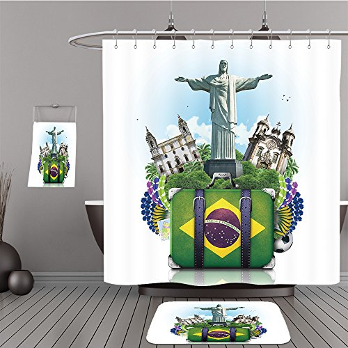 Frontgate Beige Rug (Uhoo Bathroom Suits & Shower Curtains Floor Mats And Bath Towels 628549640 Brazil, Brazil landmarks, travel and retro suitcase For Bathroom)