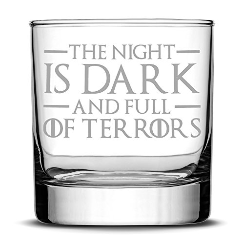 Premium Game of Thrones Whiskey Glass, The Night is Dark and Full of Terrors, Hand Etched 10oz Rocks Glass, Made in USA, Highball Gifts, Sand Carved by Integrity (Night Tableware)