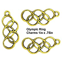 PlanetZia 10pcs Olympic Rings Charms for Jewelry Making TVT- BLRNG (10pcs Antique Gold)