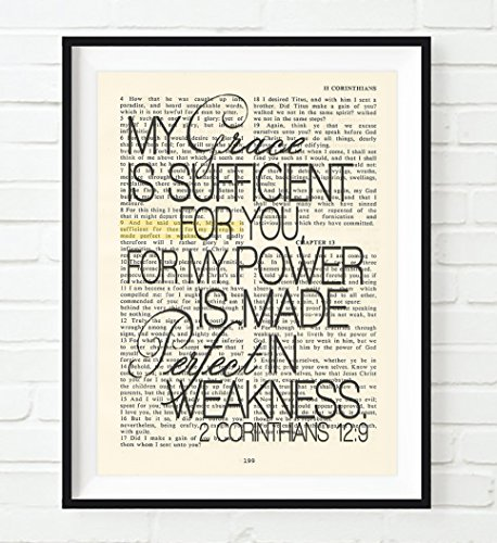 My Grace is Sufficient for You- 2 Corinthians 12:9 Christian UNFRAMED reproduction Art PRINT, Vintage Bible verse scripture wall & home decor poster, Inspirational gift, 5x7 inches