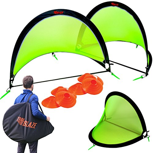 Trailblaze Pop Up Soccer Goal Set of 2 - Portable Kids Soccer Goals for Backyard with Carry Bag. 8 Disc Soccer Cones Extra Metal Pegs - Strongest Toddler Soccer - Bag Goal Carry Backyard Soccer