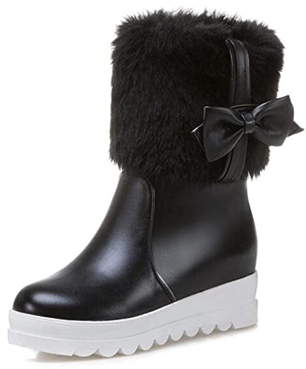 Women's Cute Fluffy Faux Fur Invisible Wedge Medium Heel Round Toe Pull On Mid Calf Snow Boots